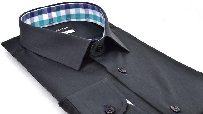 chemise-noire-meadrine-petit-col-italien-opposition-carreaux