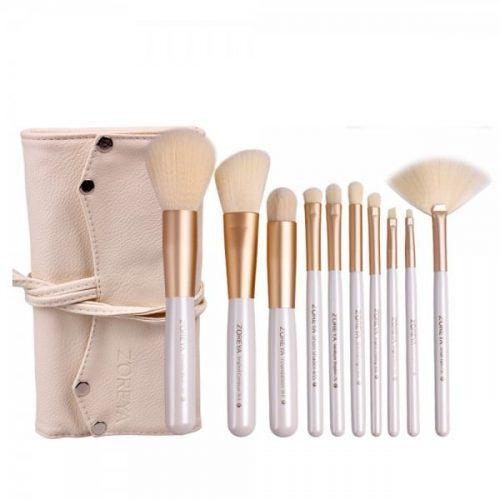 Kit 10 pinceaux maquillage avec trousse Tendance