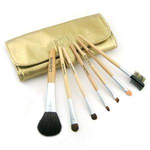 Kit 7 Pinceaux Maquillage pochette Doré Poils naturels