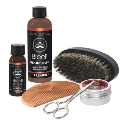 Kit de Soins de Barbe Breett huile à barbe kit 6 pcs